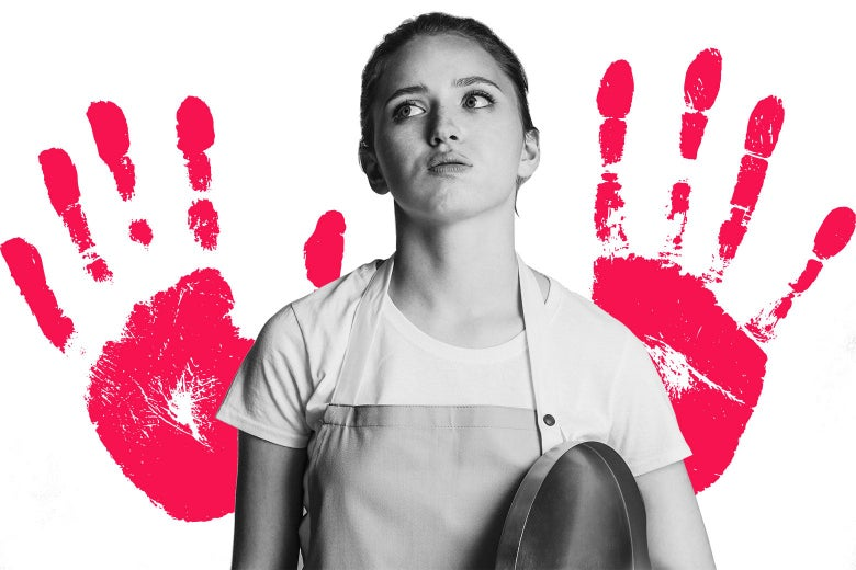 A teenage girl wearing an apron and holding a tray, and a graphic of handprints behind her.