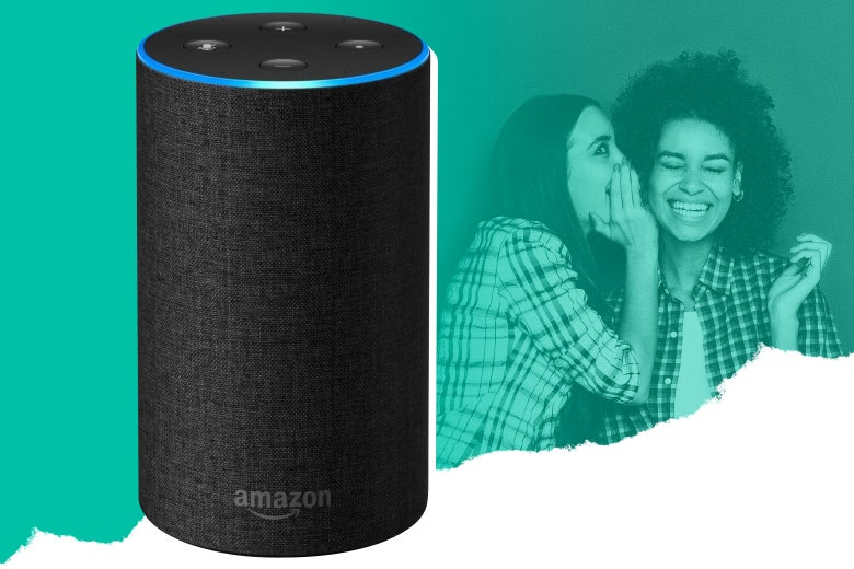 Photo illustration: an Amazon Echo.