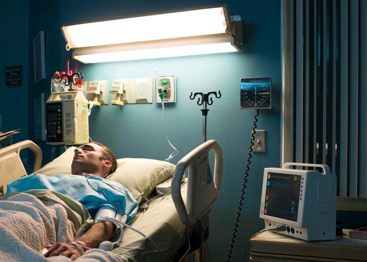patient in hospital room.