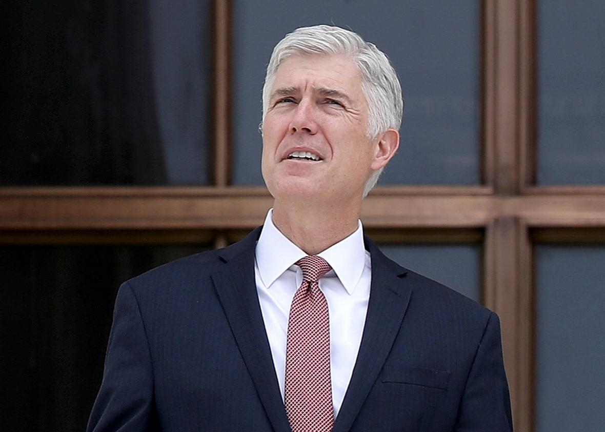 Supreme Court Justice Neil Gorsuch on the steps of the Supreme Court on June 15, 2017 in Washington, DC.