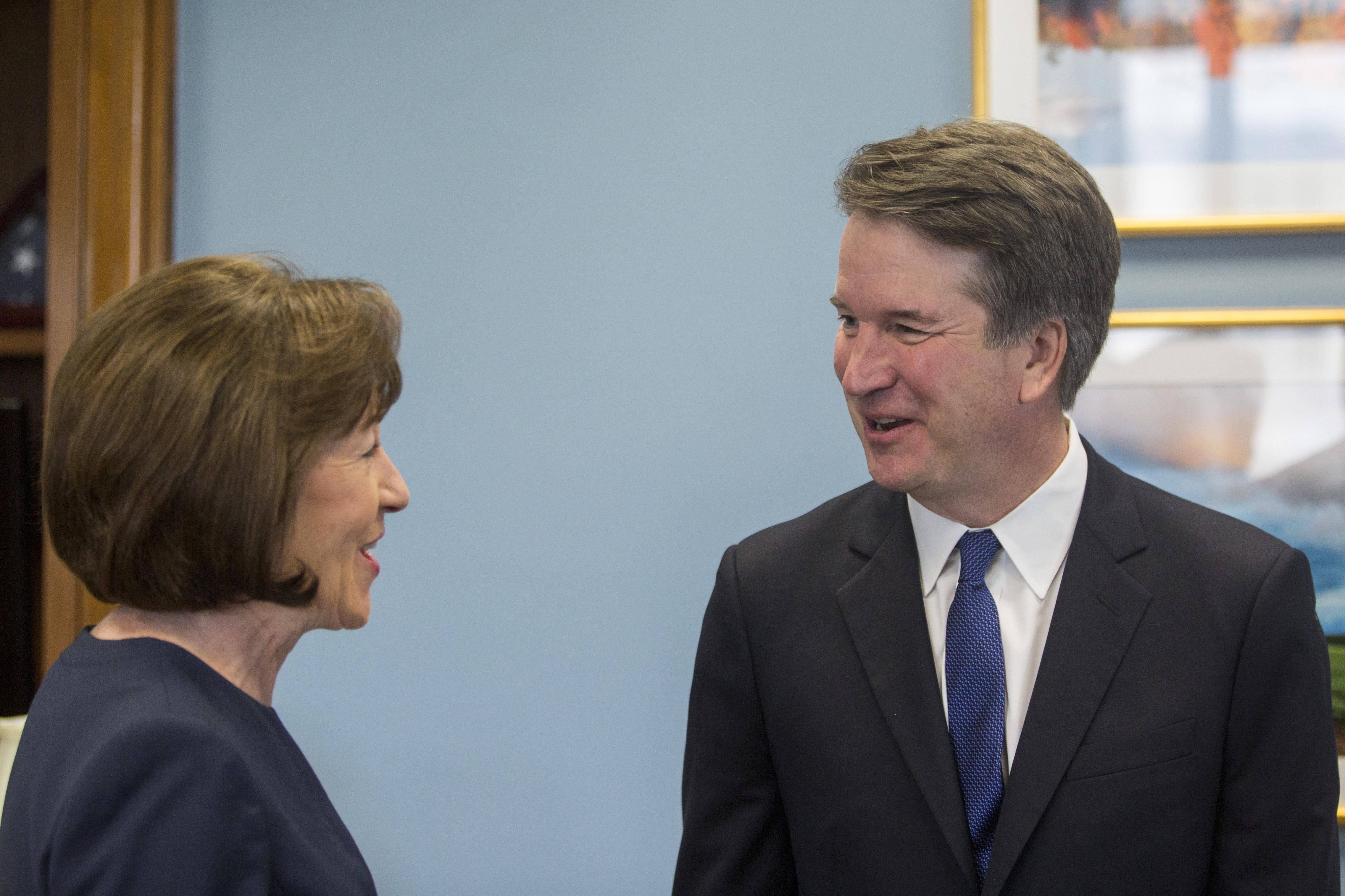 Sen. Susan Collins meets with Supreme Court nominee Brett Kavanaugh on Tuesday.