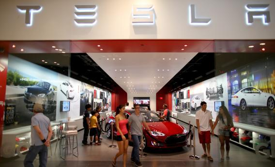 A Tesla showroom in Miami