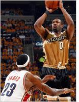 LeBron James and Gilbert Arenas. Click image to expand.