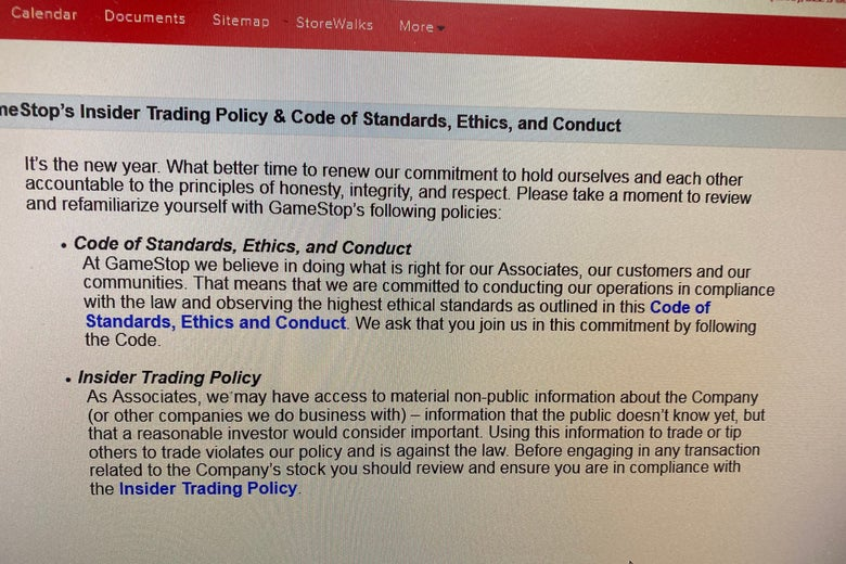 A screenshot of a memo outlining GameStop's insider trading policy.