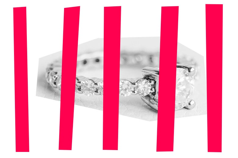 A diamond ring with bars over it, to mimic prison bars