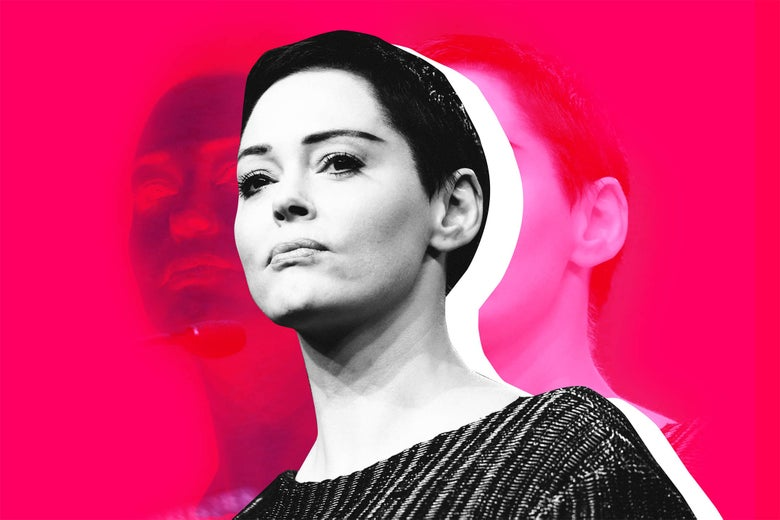 Photo illustration: Rose McGowan. Photo illustration by Slate. Photo by Rebecca Cook/Reuters.