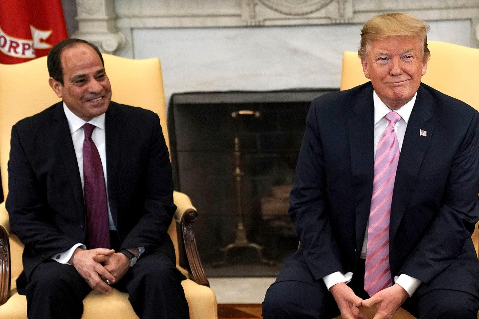 Donald Trump meets with Egyptian President Abdel-Fattah el-Sisi in the Oval Office.