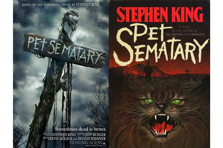 The Pet Sematary movie poster and book cover.