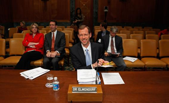 Congressional Budget Office Director Doug Elmendorf prepares to testify before the Senate Budget committee on Capitol Hill