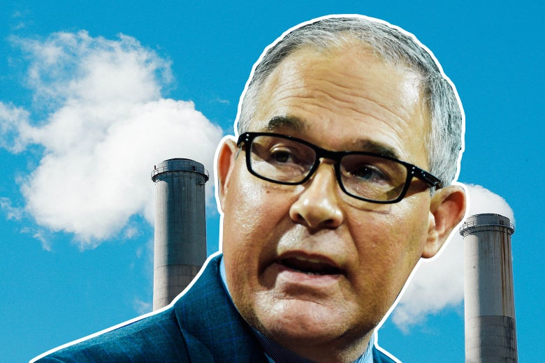 Scott Pruitt in front of industrial chimneys.
