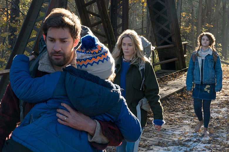 A still image of the family in the film A Quiet Place.