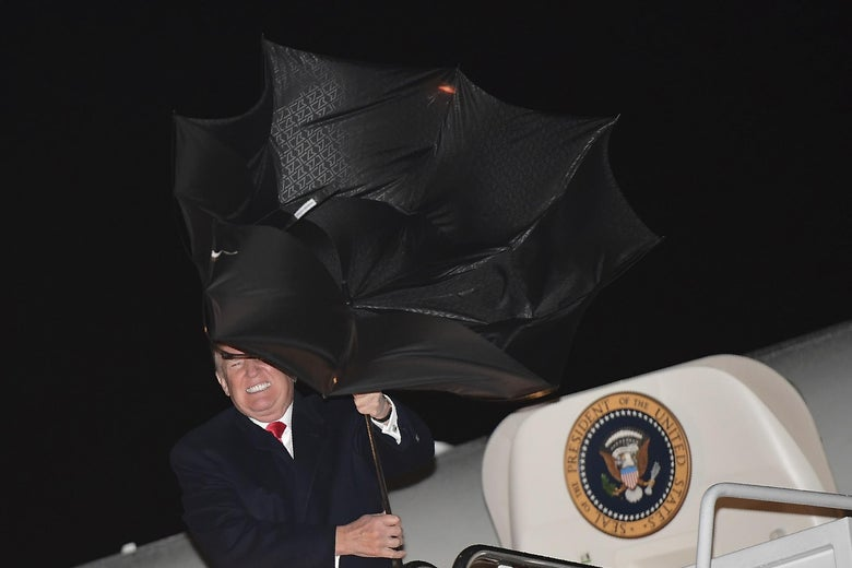 President Donald Trump steps off Air Force One upon returning to Andrews Air Force Base in Maryland on April 28, 2018.