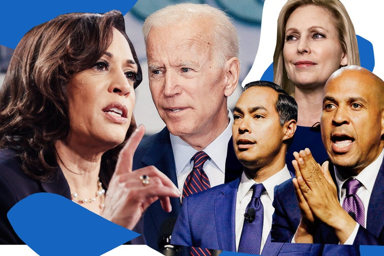 Kamala Harris, Joe Biden, Julián Castro, Kirsten Gillibrand, and Cory Booker.