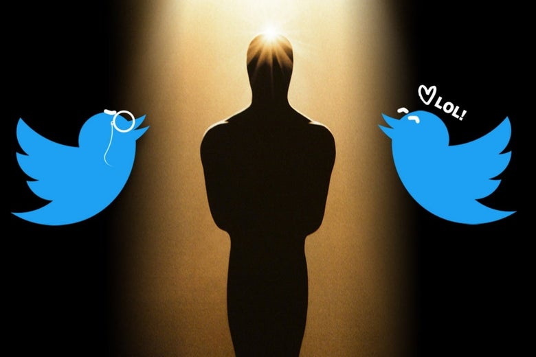 "Against a shadowy background, two Twitter logo birds hover on either side of an Oscar statue bathed in light. The bird on the left has a drawn-on monocle and the bird on the right has a drawn-on smile and the text ""LOL."""