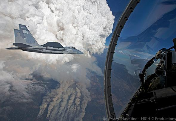 The Oregon Gulch Complex wildfire induces a spectacular pyrocumulus cloud, as seen by a pair of Oregon Air National Guard F-15C fighter planes.