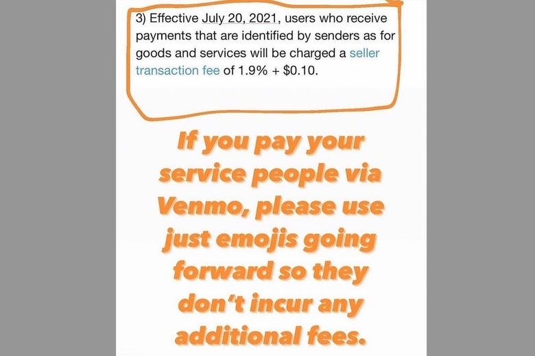 An Instagram post advising Venmo users to only use emojis in payment descriptions.