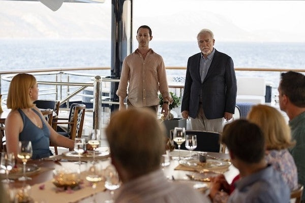 The Waystar-Royco team gathers on a yacht for the season finale of Succession.