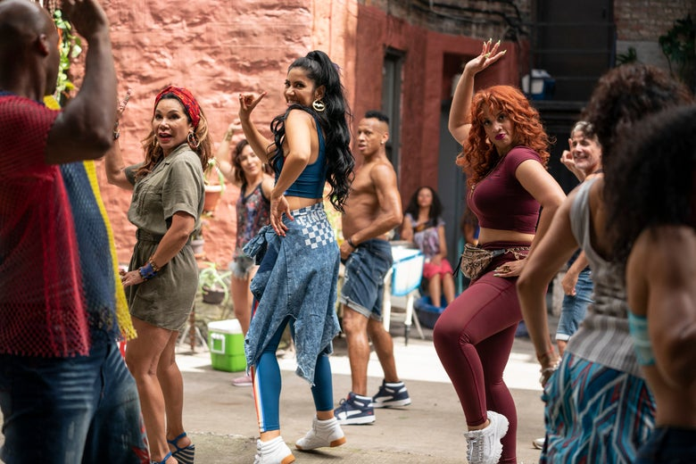 In the Heights' salon ladies dance at the Carnaval del Barrio.