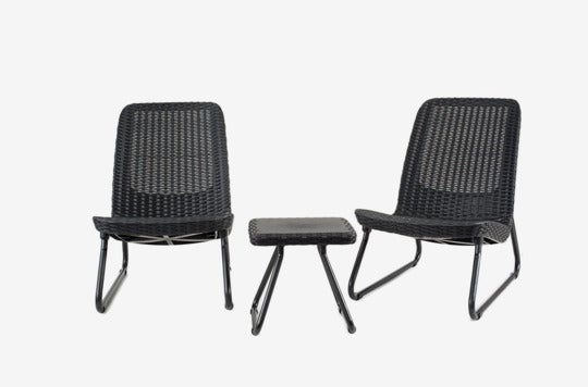 Keter Rio 3 Pc All Weather Outdoor Patio Garden Conversation Chair & Table Set Furniture.