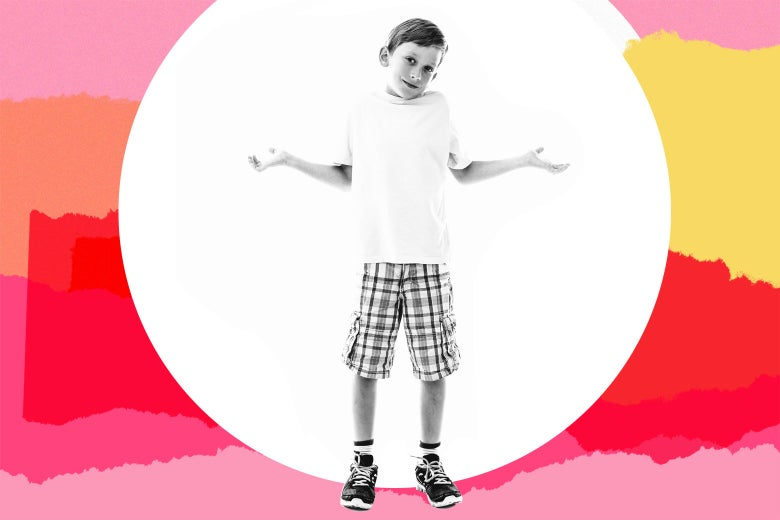 A child holds his arms out in a shrugging motion.