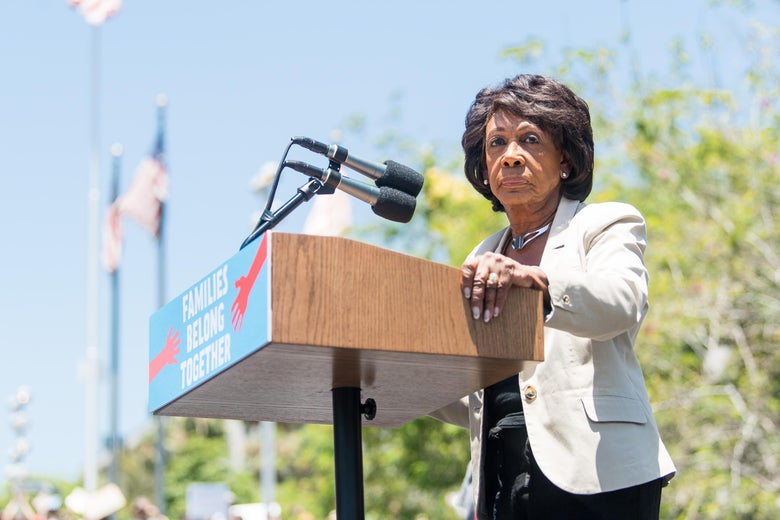 Maxine Waters speaks onstage at the Families Belong Together rally in Los Angeles on June 30, 2018.