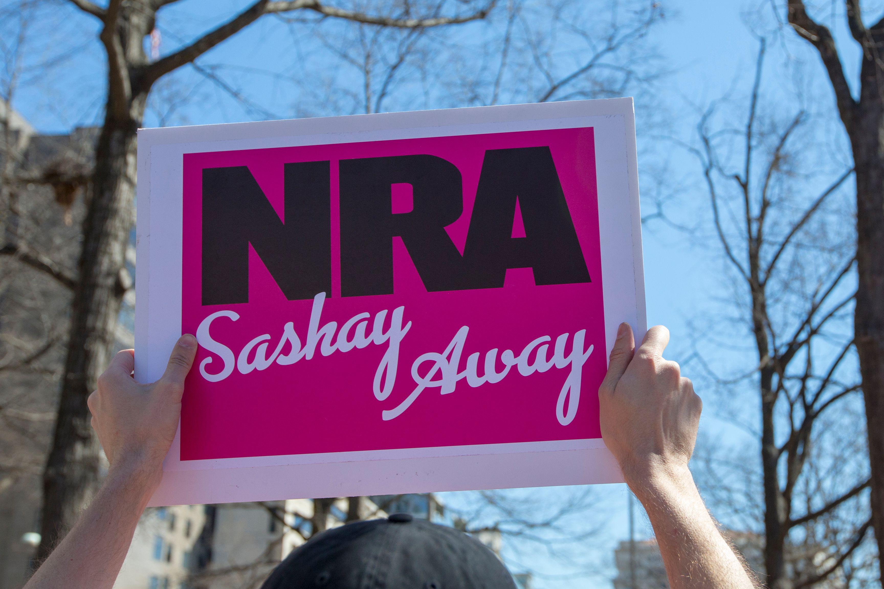 "A pink sign reads, ""NRA, sashay away."""