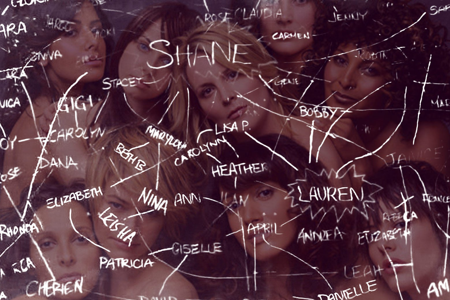 L Word characters behind THE CHART.