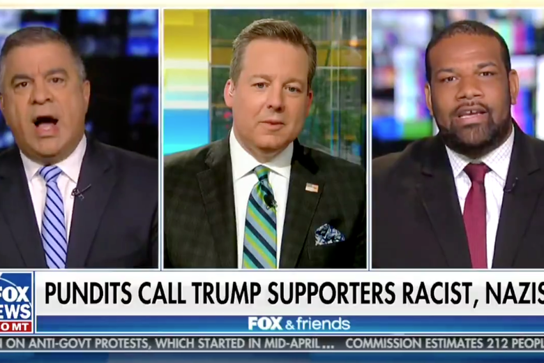 David Bossie (left) gets into a heated discussion with Democratic strategist Joel Payne as Fox News host Ed Henry tries to moderate on June 24, 2018.
