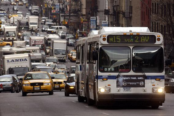 Metropolitan Transportation Authority buses are seen in New York, December 19, 2005.