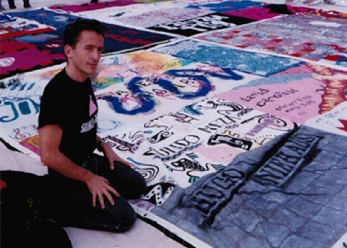 The author with his AIDS Memorial Quilt panel.