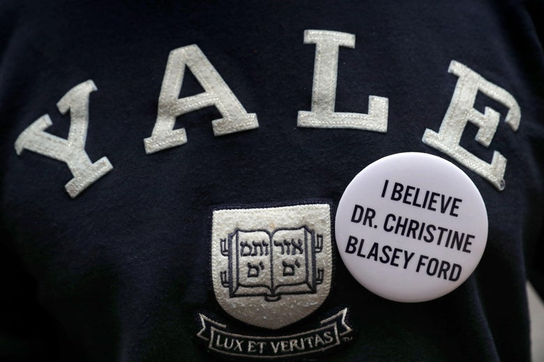 A Yale sweatshirt with a pin in support of Christine Blasey Ford