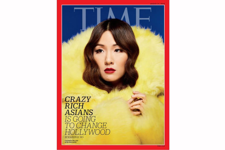 """On the cover of Time Magazine, Constance Wu's head is engulfed by a jacket of fluffy yellow fur that takes up most of the cover. The headline is """"Crazy Rich Asians Is Going to Change Hollywood."""""""