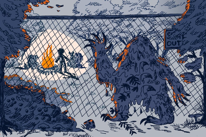A swamp monster looks on sadly from behind a chain-link fence as campers sit around a fire.