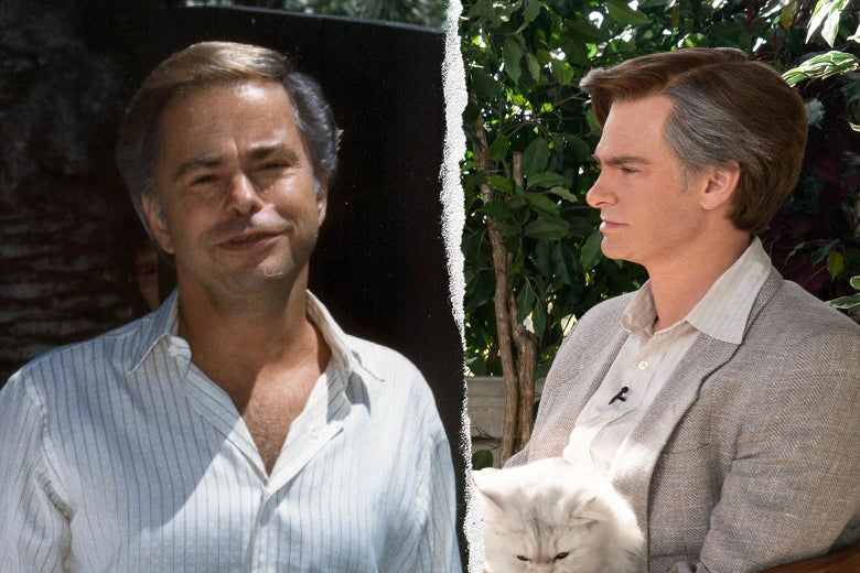 A silver-haired man in a button-down shirt, opened a few buttons, and Andrew Garfield as Bakker in a light-colored suit holding a white cat on his lap.