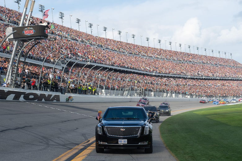 The presidential limo takes a lap at the Daytona 500.