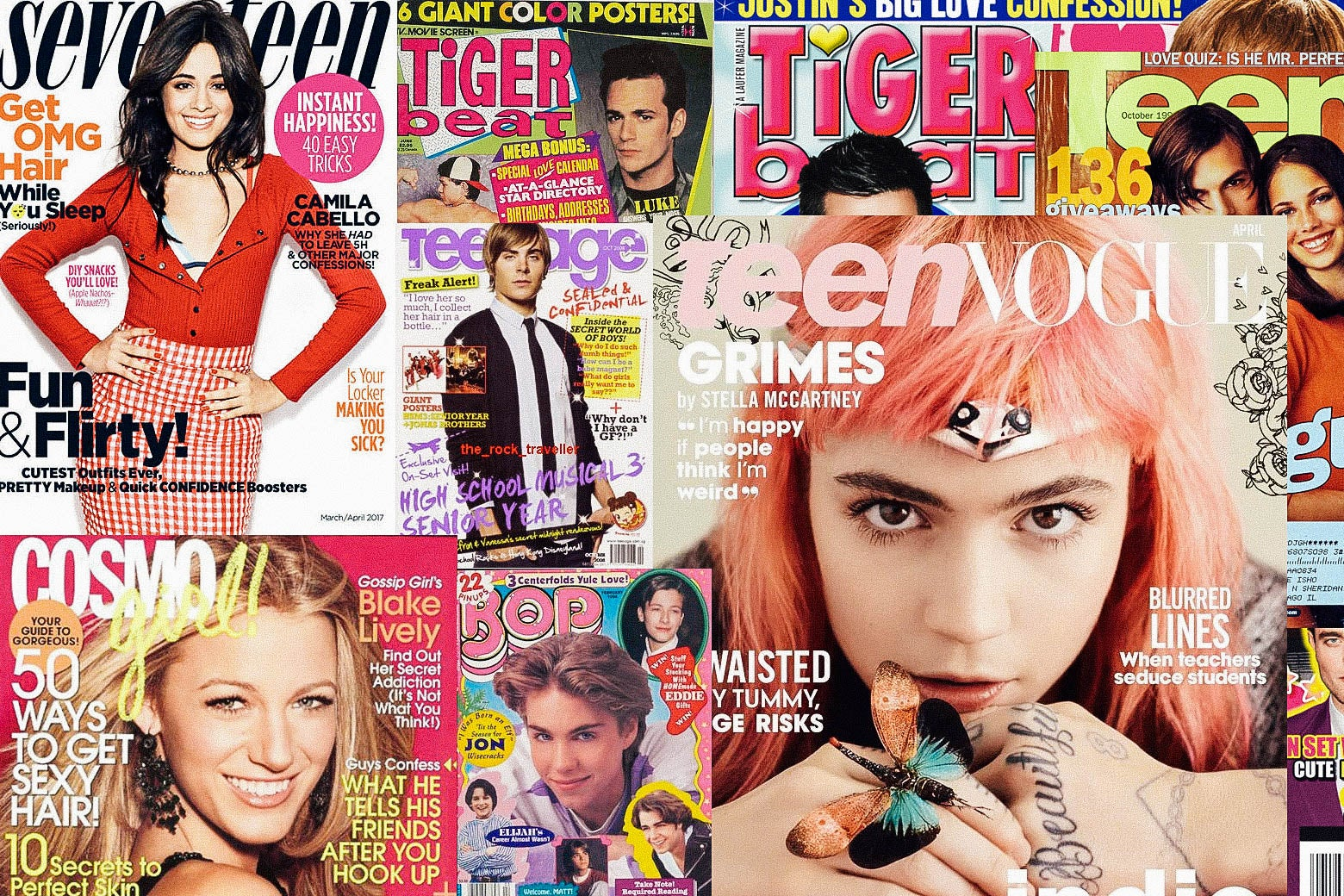 Cover image collage of Seventeen, CosmoGirl, Tiger Beat, Teen Vogue, Teen and Bop Magazines.