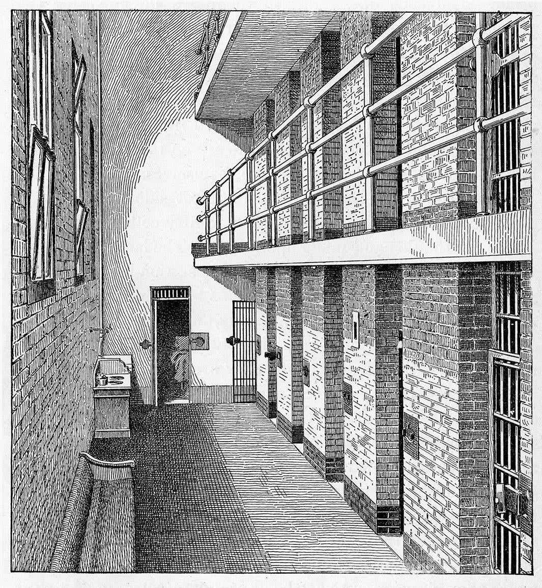 Prison cells for females in The Tombs, New York, late nineteenth century.