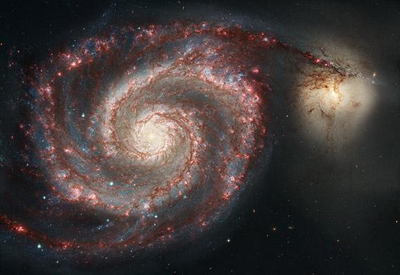 Combined Hubble and Spitzer picture of M51