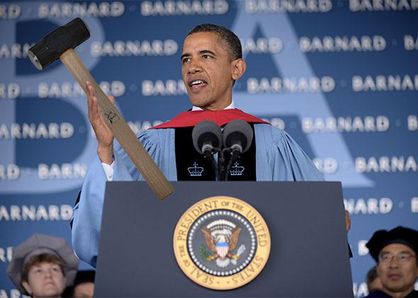 President Barack Obama delivers the commencement address at Barnard College.