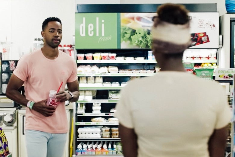 Jay Ellis and Issa Rae in Insecure.