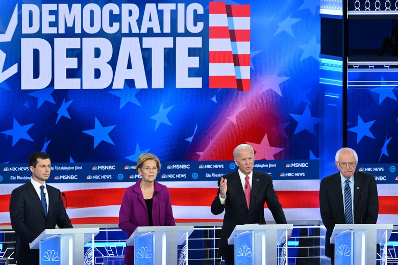 Democratic presidential hopefuls Pete Buttigieg, Elizabeth Warren, Joe Biden, and Bernie Sanders speak during the fifth Democratic primary debate in Atlanta, Georgia on November 20, 2019.