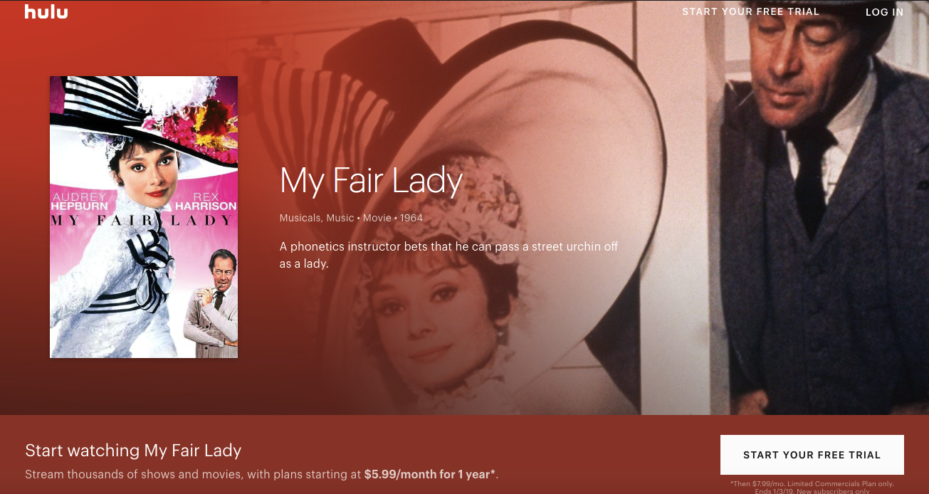 Hulu has a whole page for My Fair Lady!