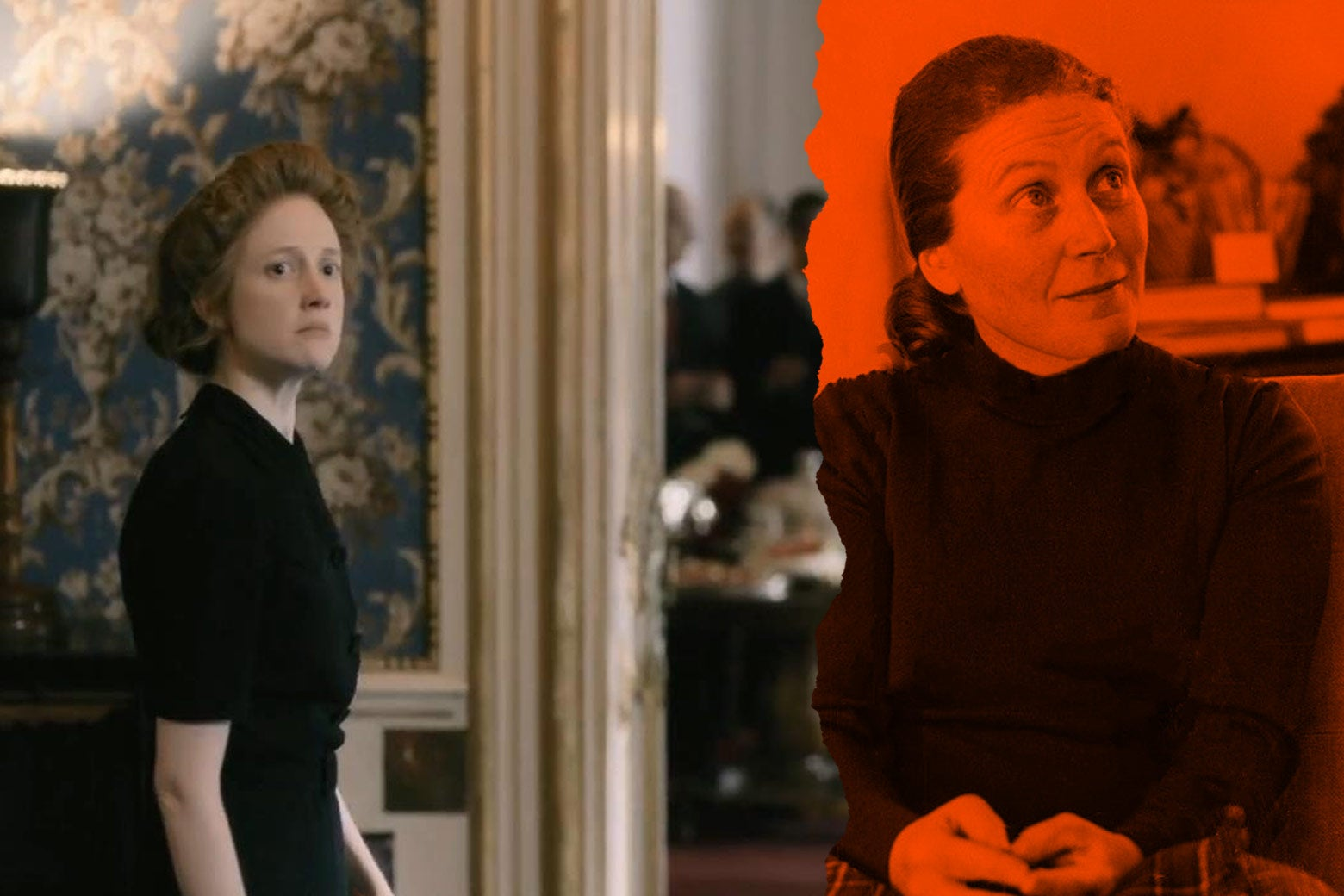 At left: Andrea Riseborough as Svetlana Stalina in the film. At right: the real Svetlana Stalina.