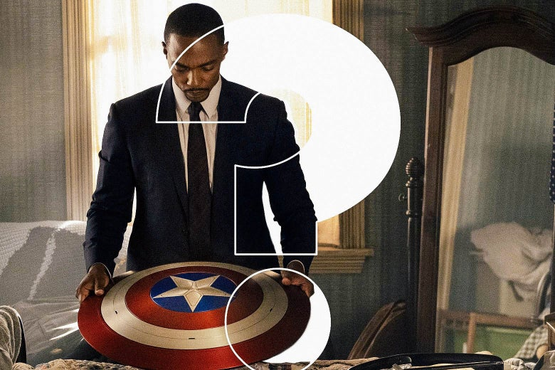 He wears a dark suit (not the super kind) and stares down solemnly at Captain America's shield.