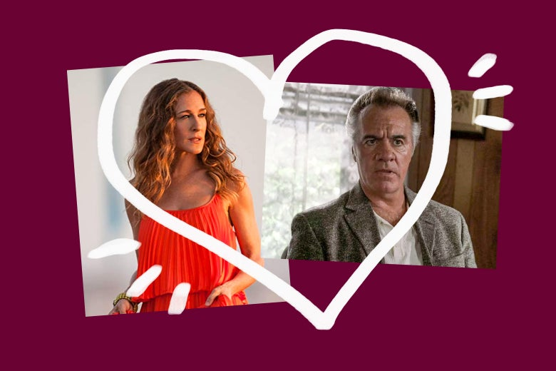 Sarah Jessica Parker as Carrie from Sex and the City and Tony Sirico as Paulie from The Sopranos, with a heart drawn around them.