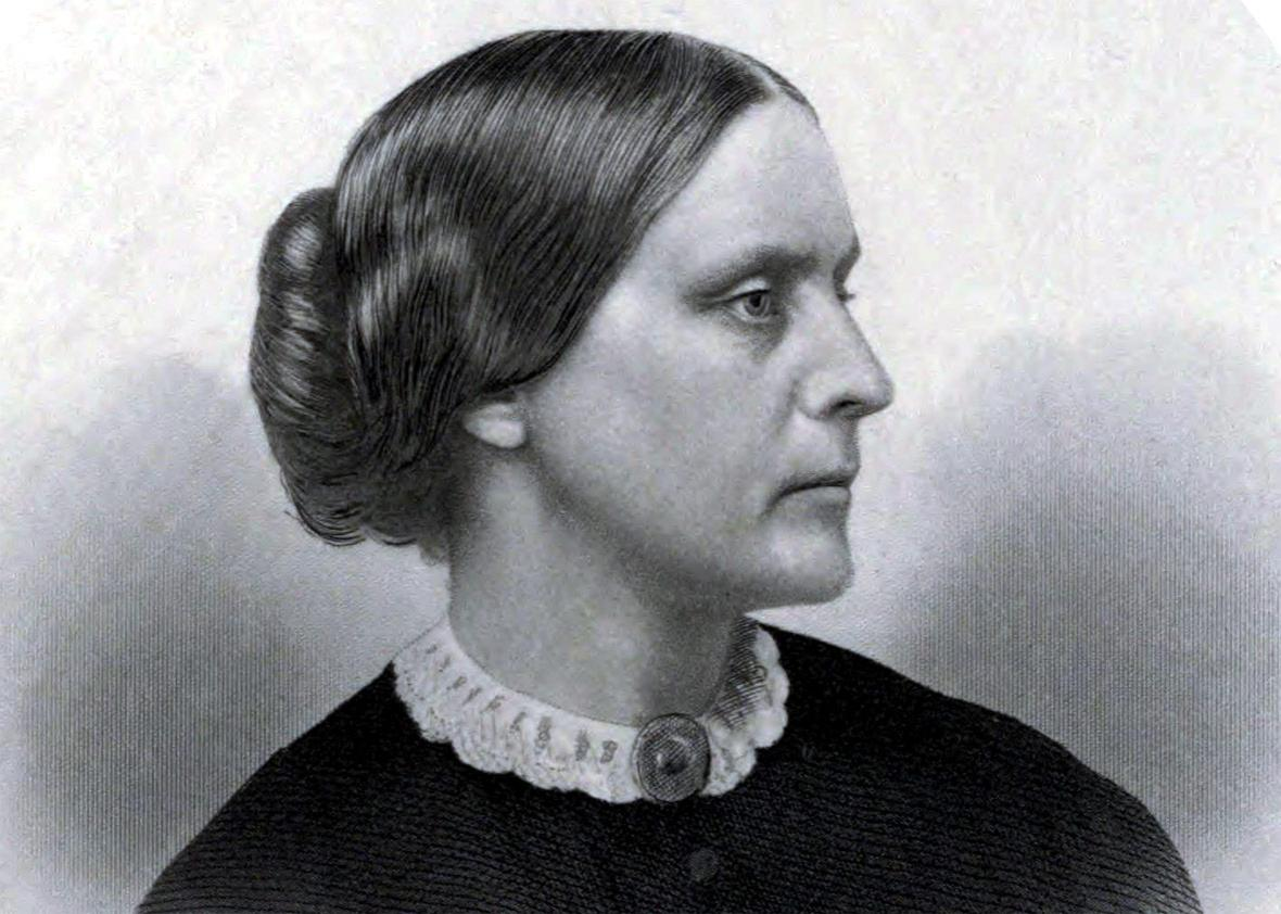 Public relations portrait of Susan B. Anthony as used in the History of Woman Suffrage by Anthony and Elizabeth Cady Stanton, Volume I, published in 1881.