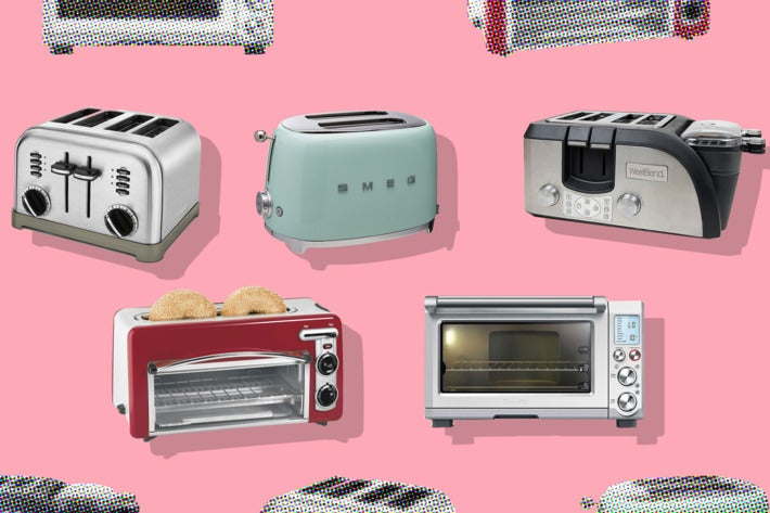 Collage of various toasters on a pink background.