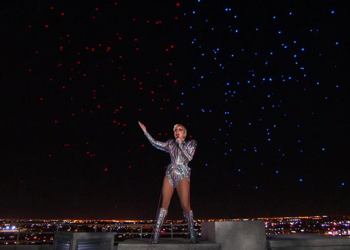 Gaga blesses America.