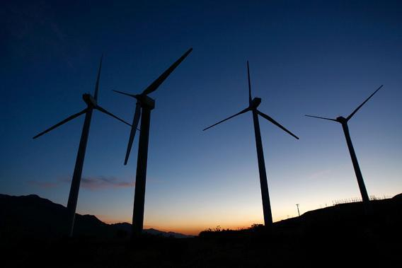 Giant wind turbines are powered by strong prevailing winds on May 13, 2008 near Palm Springs, California.