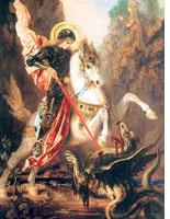Painting by Gustave Moreau depicting Saint George slaying the dragon. Click image to expand.
